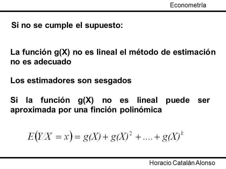 Taller de Econometría Si no se cumple el supuesto: La función g(X) no es lineal el método de estimación no es adecuado Los estimadores son sesgados Si