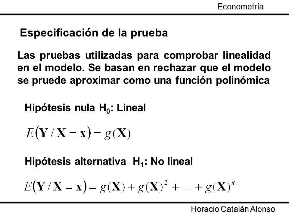 Taller de Econometría Especificación de la prueba Las pruebas utilizadas para comprobar linealidad en el modelo. Se basan en rechazar que el modelo se