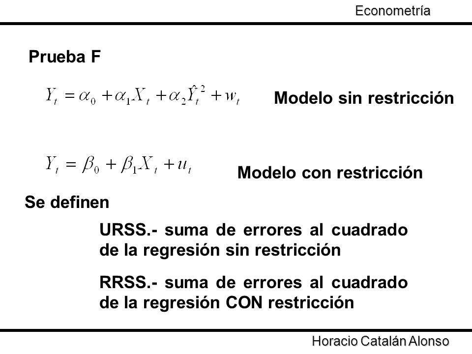 Taller de Econometría Prueba F Modelo sin restricción Modelo con restricción Se definen URSS.- suma de errores al cuadrado de la regresión sin restric