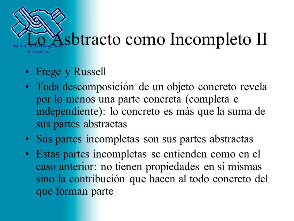Lo Asbtracto como Incompleto II Frege y Russell Toda descomposición de un objeto concreto revela por lo menos una parte concreta (completa e independi