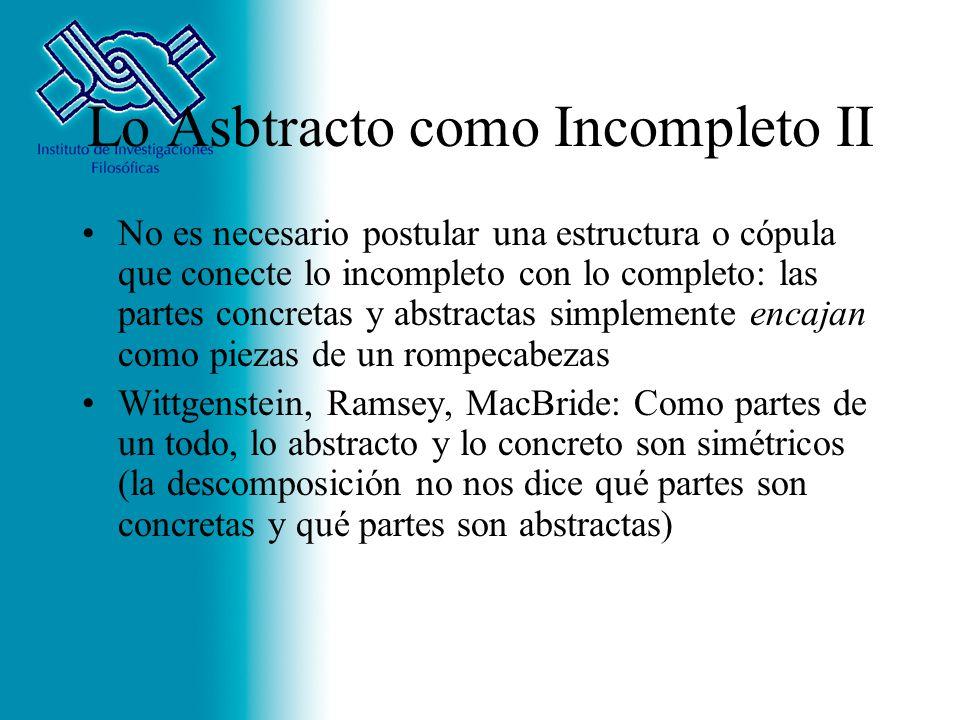 Lo Asbtracto como Incompleto II No es necesario postular una estructura o cópula que conecte lo incompleto con lo completo: las partes concretas y abs