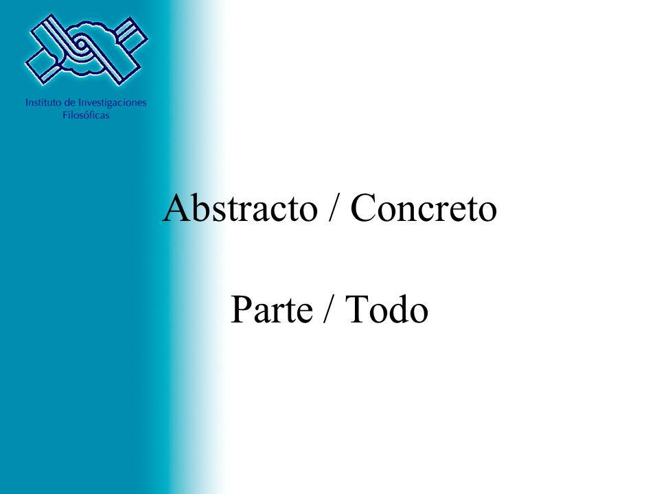 Abstracto / Concreto Parte / Todo