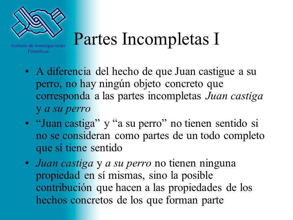 Partes Incompletas I A diferencia del hecho de que Juan castigue a su perro, no hay ningún objeto concreto que corresponda a las partes incompletas Ju
