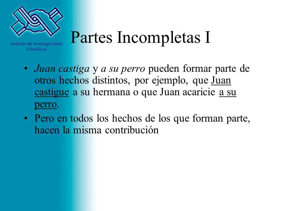 Partes Incompletas I Juan castiga y a su perro pueden formar parte de otros hechos distintos, por ejemplo, que Juan castigue a su hermana o que Juan a