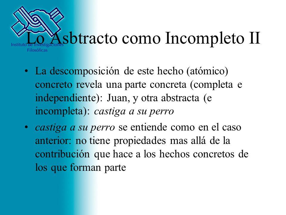 Lo Asbtracto como Incompleto II La descomposición de este hecho (atómico) concreto revela una parte concreta (completa e independiente): Juan, y otra