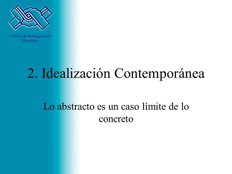 2. Idealización Contemporánea Lo abstracto es un caso límite de lo concreto