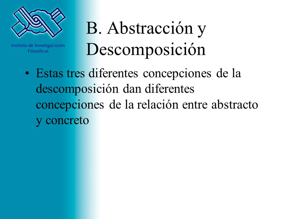 B. Abstracción y Descomposición Estas tres diferentes concepciones de la descomposición dan diferentes concepciones de la relación entre abstracto y c