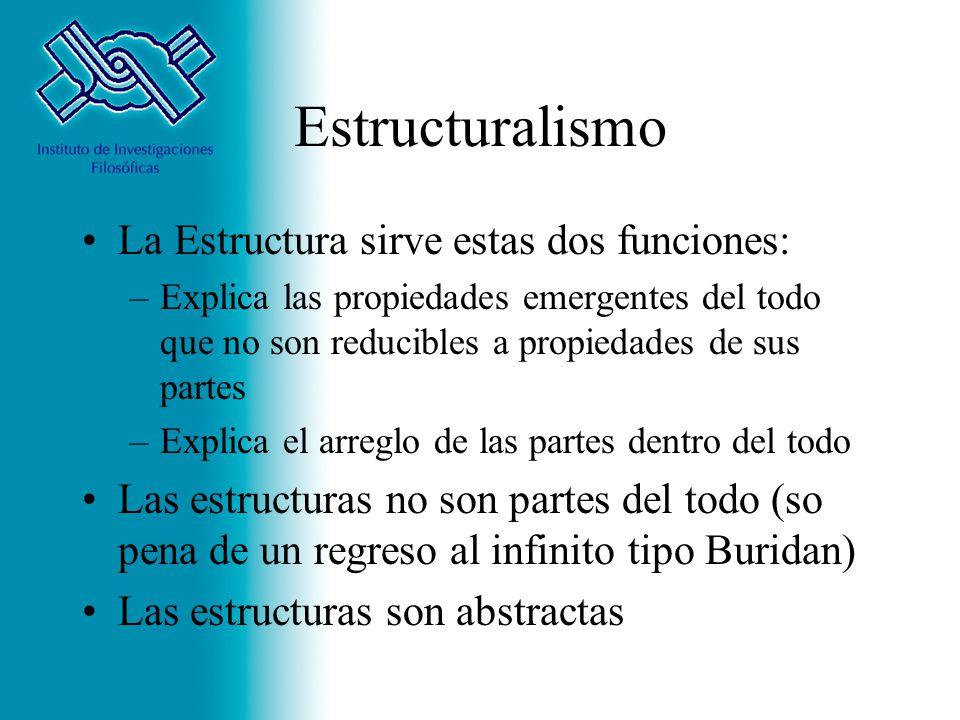 Estructuralismo La Estructura sirve estas dos funciones: –Explica las propiedades emergentes del todo que no son reducibles a propiedades de sus parte