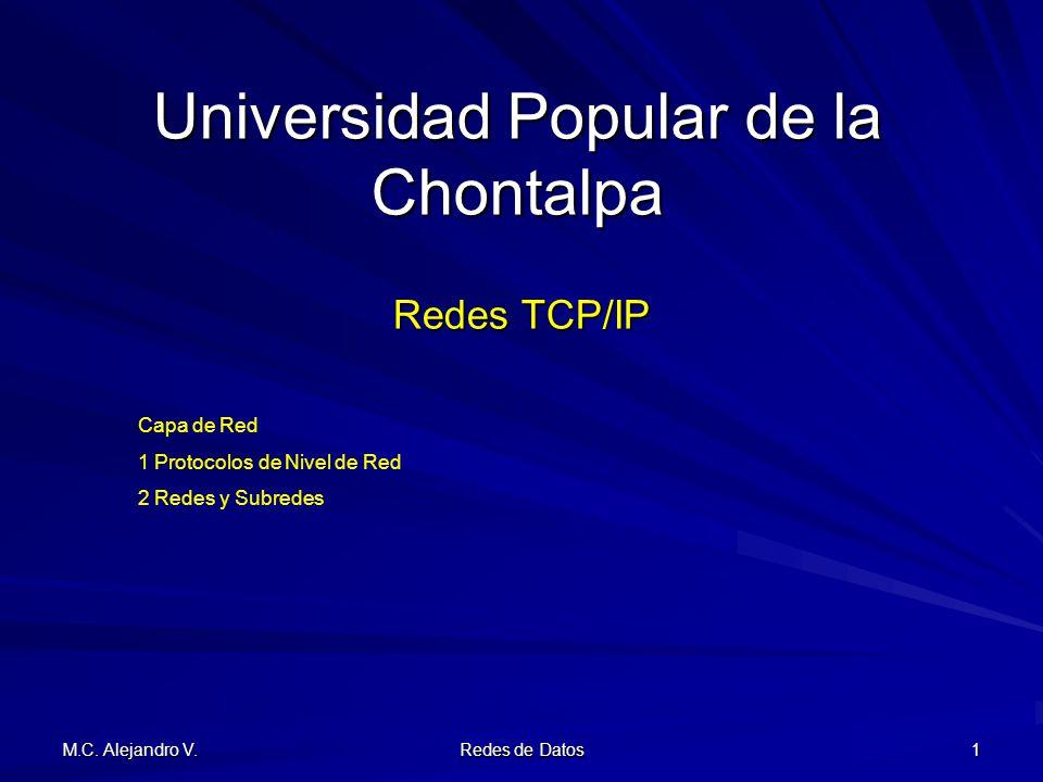 M.C. Alejandro V. Redes de Datos 1 Universidad Popular de la Chontalpa Redes TCP/IP Capa de Red 1 Protocolos de Nivel de Red 2 Redes y Subredes