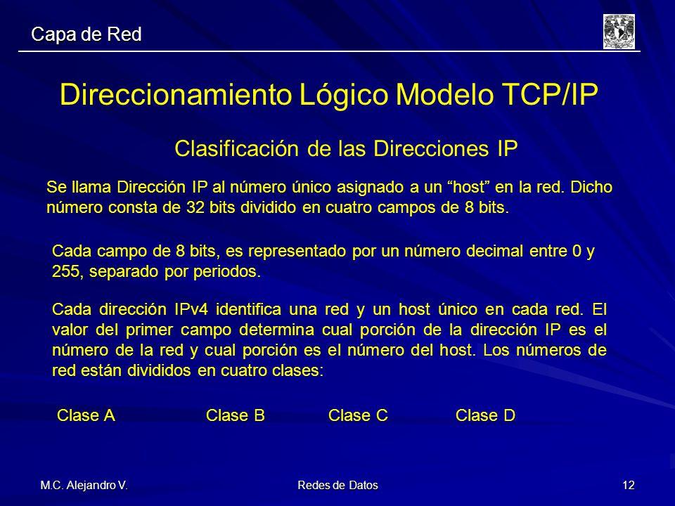 M.C. Alejandro V. Redes de Datos 12 Direccionamiento Lógico Modelo TCP/IP Clasificación de las Direcciones IP Se llama Dirección IP al número único as