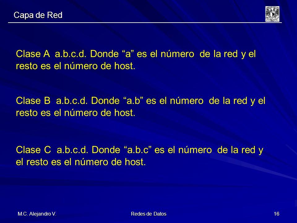M.C. Alejandro V. Redes de Datos 16 Clase A a.b.c.d. Donde a es el número de la red y el resto es el número de host. Clase B a.b.c.d. Donde a.b es el