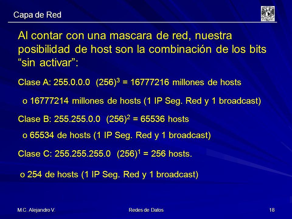 M.C. Alejandro V. Redes de Datos 18 Al contar con una mascara de red, nuestra posibilidad de host son la combinación de los bitssin activar: Clase A: