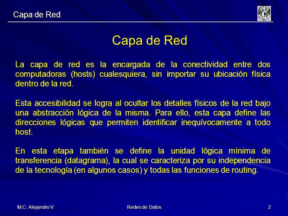 M.C. Alejandro V. Redes de Datos 2 Capa de Red La capa de red es la encargada de la conectividad entre dos computadoras (hosts) cualesquiera, sin impo