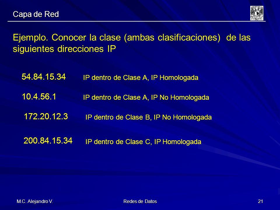 M.C. Alejandro V. Redes de Datos 21 Ejemplo. Conocer la clase (ambas clasificaciones) de las siguientes direcciones IP 54.84.15.34 10.4.56.1 172.20.12