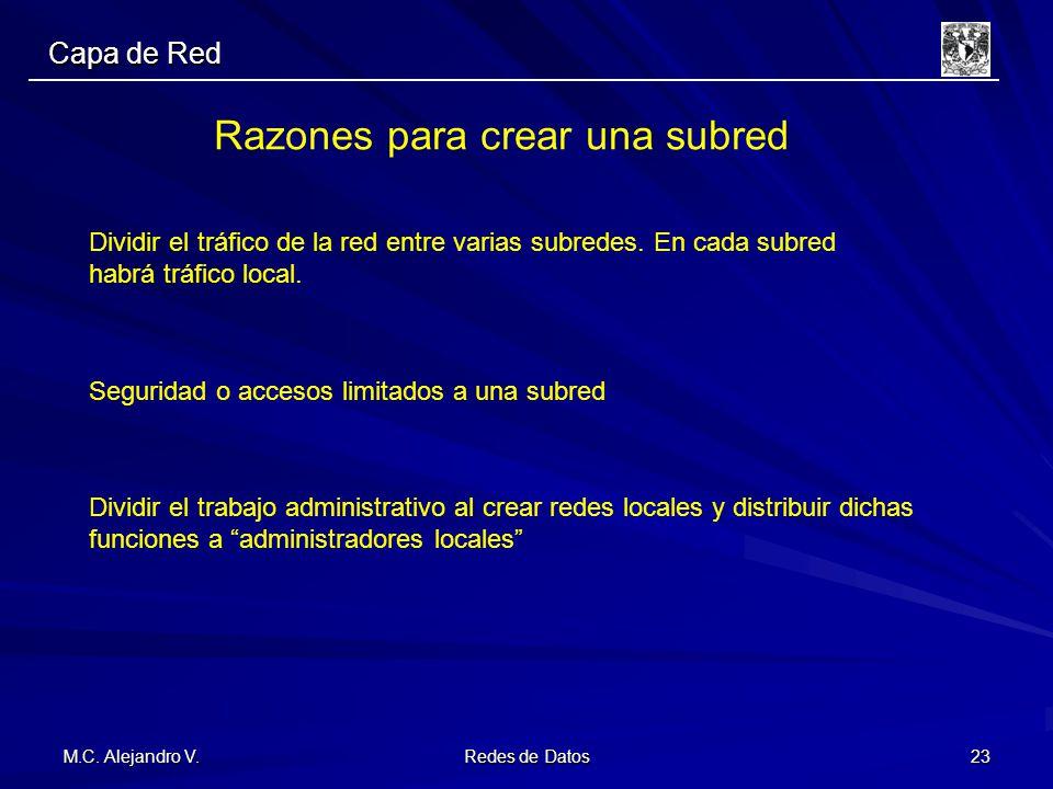 M.C. Alejandro V. Redes de Datos 23 Razones para crear una subred Dividir el tráfico de la red entre varias subredes. En cada subred habrá tráfico loc