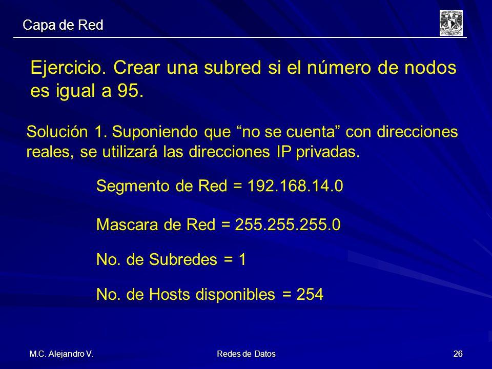 M.C. Alejandro V. Redes de Datos 26 Ejercicio. Crear una subred si el número de nodos es igual a 95. Solución 1. Suponiendo que no se cuenta con direc