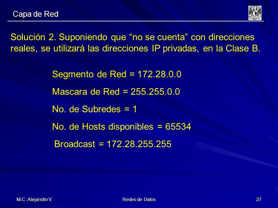 M.C. Alejandro V. Redes de Datos 27 Solución 2. Suponiendo que no se cuenta con direcciones reales, se utilizará las direcciones IP privadas, en la Cl