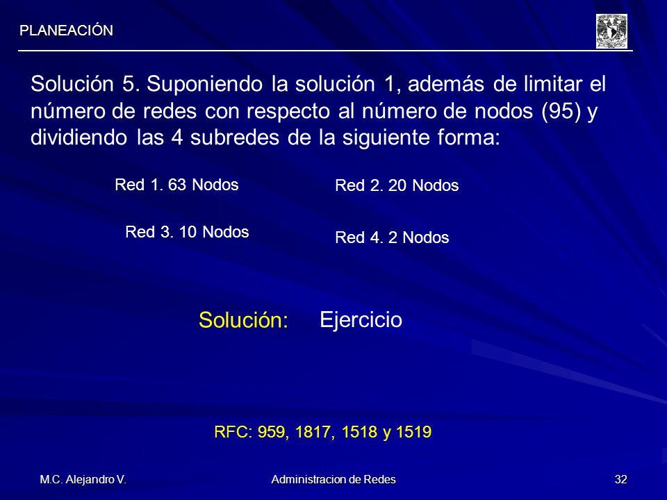 M.C. Alejandro V. Administracion de Redes 32 PLANEACIÓN Solución 5. Suponiendo la solución 1, además de limitar el número de redes con respecto al núm