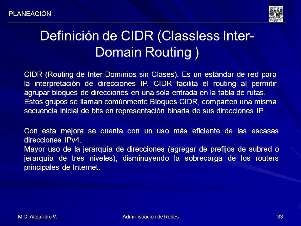 M.C. Alejandro V. Administracion de Redes 33 PLANEACIÓN Definición de CIDR (Classless Inter- Domain Routing ) CIDR (Routing de Inter-Dominios sin Clas