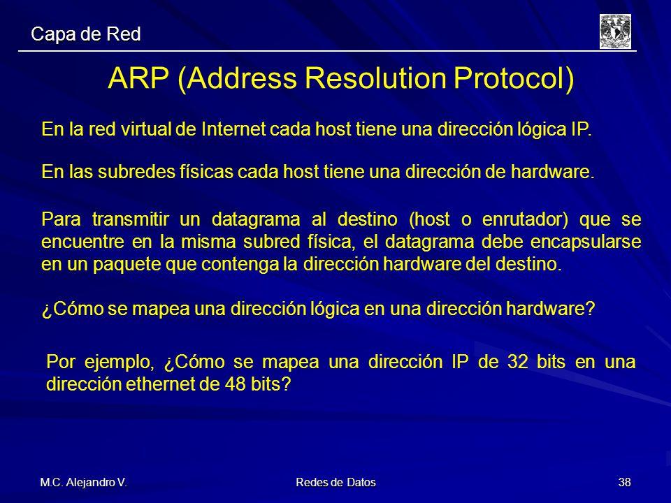 M.C. Alejandro V. Redes de Datos 38 Capa de Red ARP (Address Resolution Protocol) En la red virtual de Internet cada host tiene una dirección lógica I