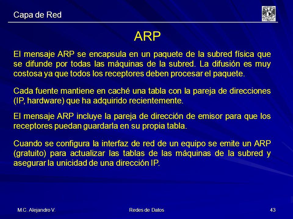 M.C. Alejandro V. Redes de Datos 43 Capa de Red ARP El mensaje ARP se encapsula en un paquete de la subred física que se difunde por todas las máquina