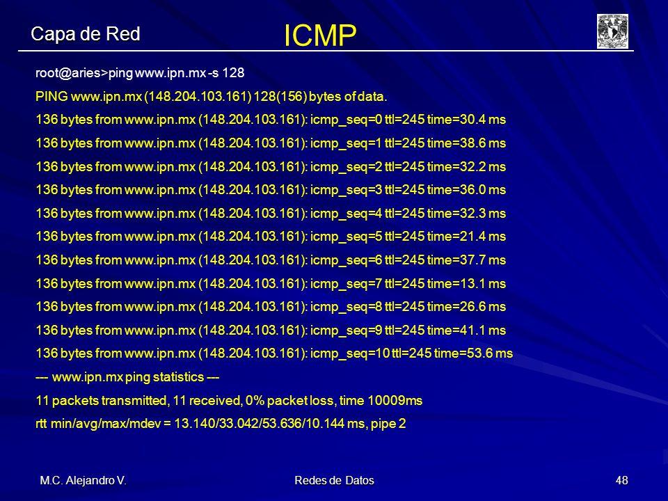 M.C. Alejandro V. Redes de Datos 48 Capa de Red root@aries>ping www.ipn.mx -s 128 PING www.ipn.mx (148.204.103.161) 128(156) bytes of data. 136 bytes