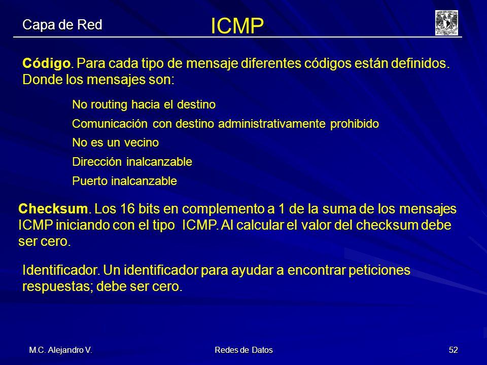 M.C. Alejandro V. Redes de Datos 52 Capa de Red Código. Para cada tipo de mensaje diferentes códigos están definidos. Donde los mensajes son: No routi