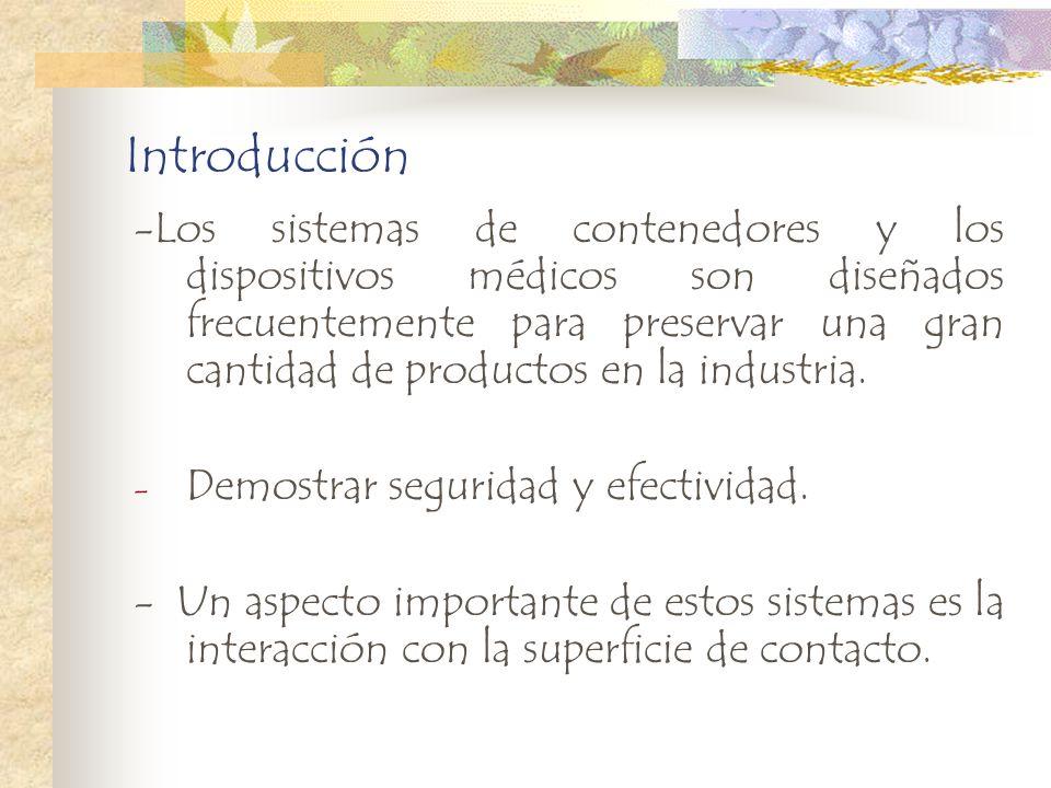 Introducción -Los sistemas de contenedores y los dispositivos médicos son diseñados frecuentemente para preservar una gran cantidad de productos en la