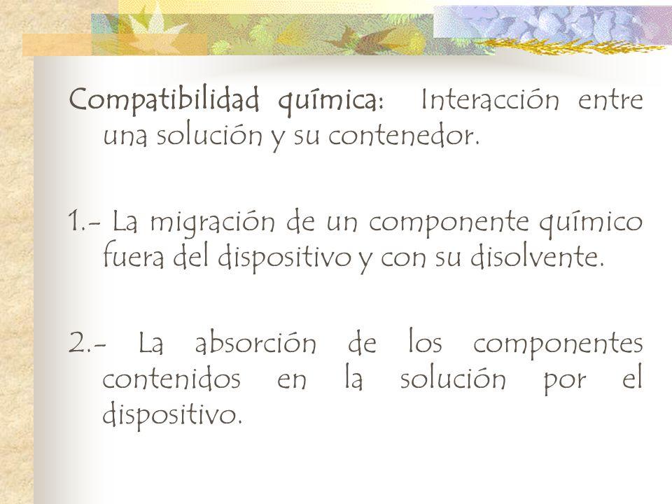 Compatibilidad química: Interacción entre una solución y su contenedor. 1.- La migración de un componente químico fuera del dispositivo y con su disol
