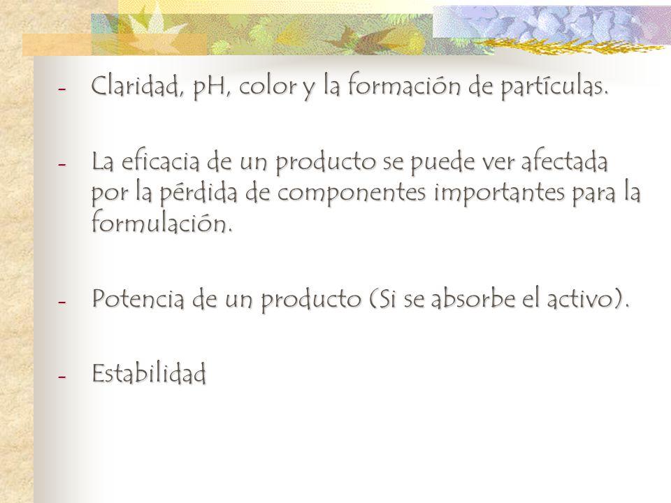 - Claridad, pH, color y la formación de partículas. - La eficacia de un producto se puede ver afectada por la pérdida de componentes importantes para