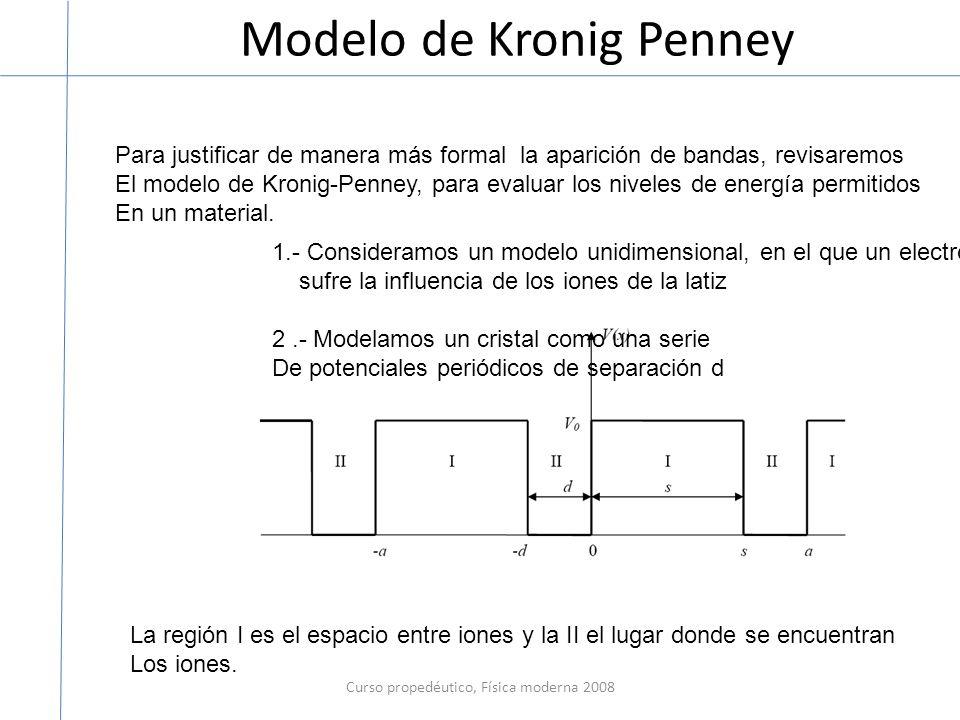 Modelo de Kronig Penney Curso propedéutico, Física moderna 2008 Para justificar de manera más formal la aparición de bandas, revisaremos El modelo de Kronig-Penney, para evaluar los niveles de energía permitidos En un material.