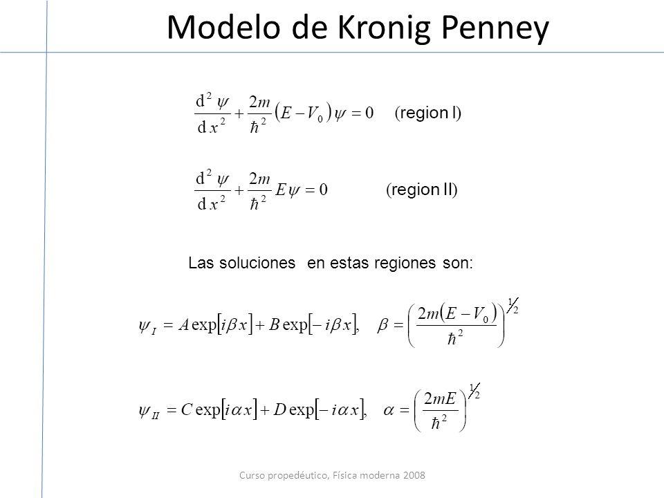 Modelo de Kronig Penney Curso propedéutico, Física moderna 2008 Las soluciones en estas regiones son: