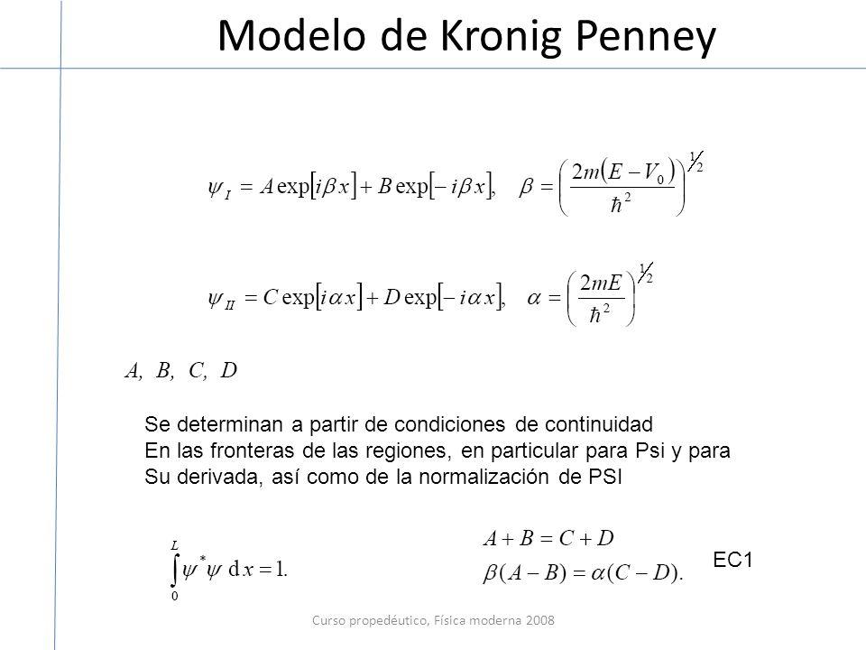 Modelo de Kronig Penney Curso propedéutico, Física moderna 2008 Se determinan a partir de condiciones de continuidad En las fronteras de las regiones, en particular para Psi y para Su derivada, así como de la normalización de PSI EC1