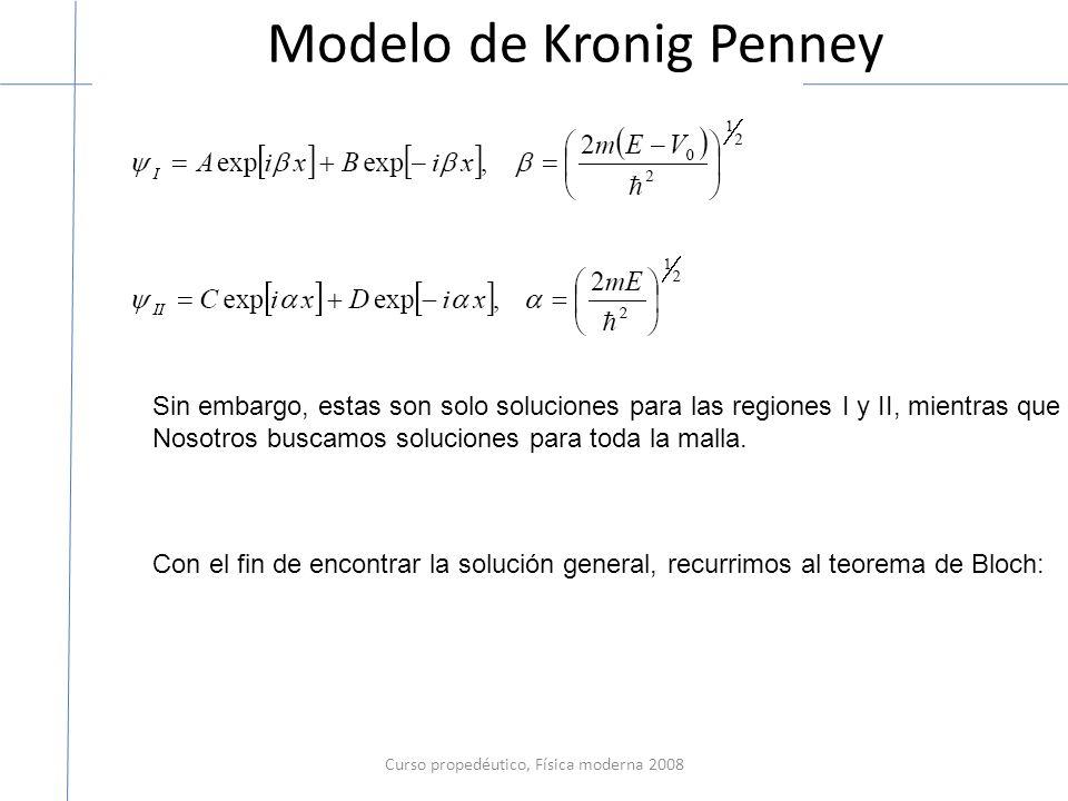 Modelo de Kronig Penney Curso propedéutico, Física moderna 2008 Sin embargo, estas son solo soluciones para las regiones I y II, mientras que Nosotros buscamos soluciones para toda la malla.
