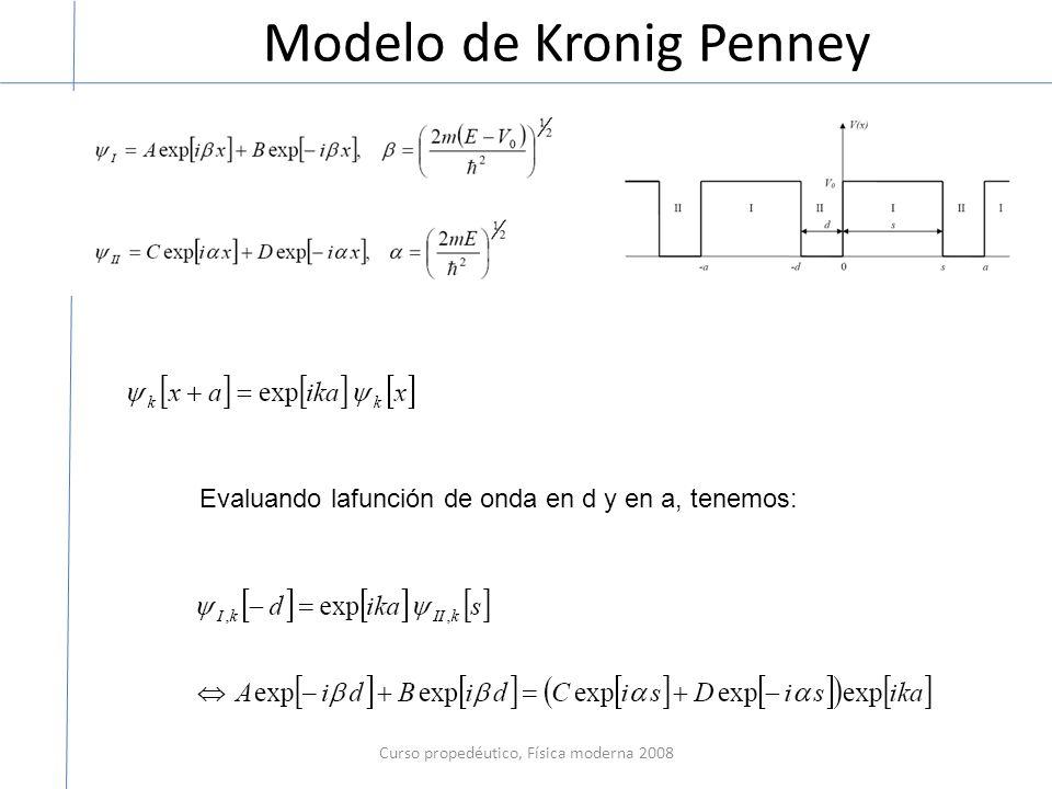 Modelo de Kronig Penney Curso propedéutico, Física moderna 2008 Evaluando lafunción de onda en d y en a, tenemos: