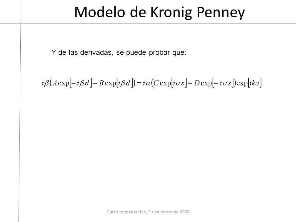 Modelo de Kronig Penney Curso propedéutico, Física moderna 2008 Y de las derivadas, se puede probar que: