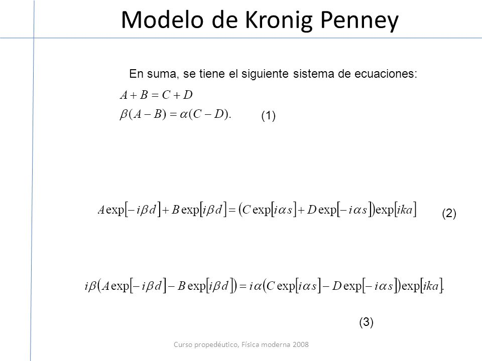 Modelo de Kronig Penney Curso propedéutico, Física moderna 2008 En suma, se tiene el siguiente sistema de ecuaciones: (1) (2) (3)