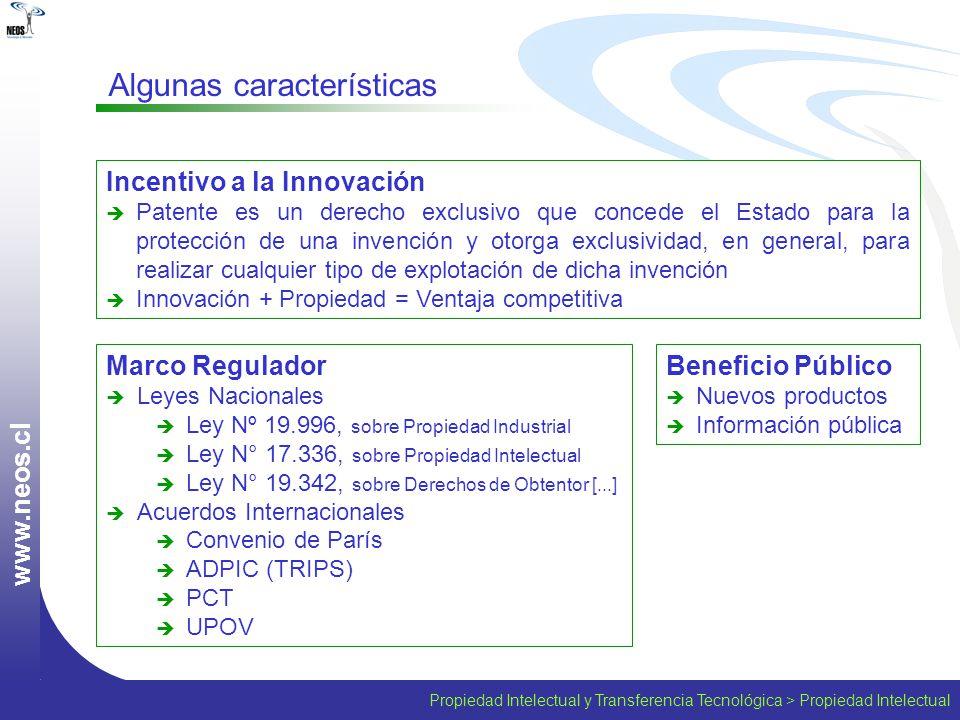 Propiedad Intelectual y Transferencia Tecnológica > Propiedad Intelectual w w w. n e o s. c l Marco Regulador Leyes Nacionales Ley Nº 19.996, sobre Pr