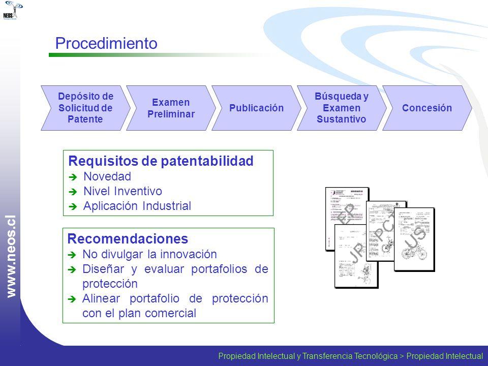 Propiedad Intelectual y Transferencia Tecnológica > Propiedad Intelectual w w w. n e o s. c l Procedimiento Recomendaciones No divulgar la innovación