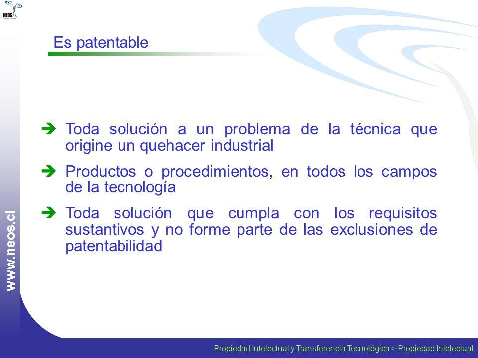 w w w. n e o s. c l Toda solución a un problema de la técnica que origine un quehacer industrial Productos o procedimientos, en todos los campos de la