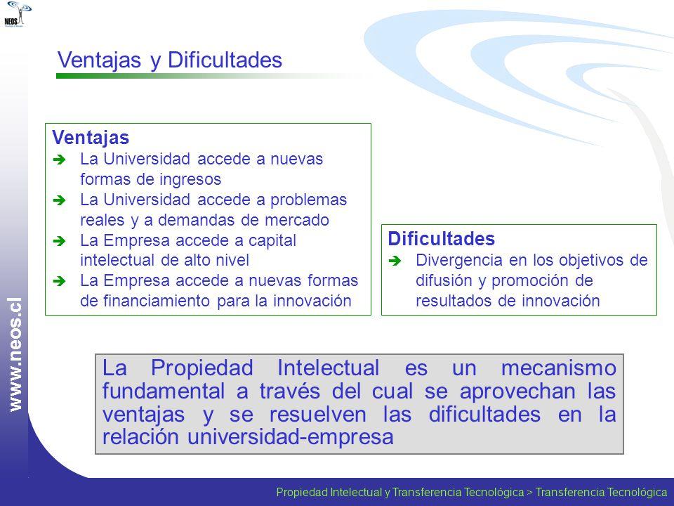 Propiedad Intelectual y Transferencia Tecnológica > Transferencia Tecnológica w w w. n e o s. c l Ventajas y Dificultades La Propiedad Intelectual es