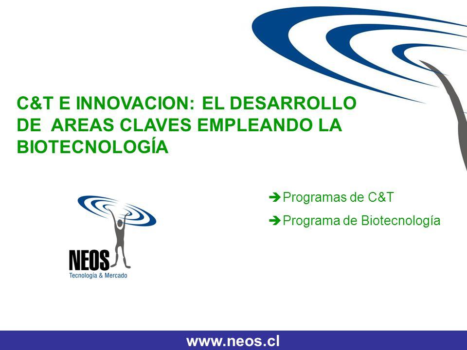 www.neos.cl C&T E INNOVACION: EL DESARROLLO DE AREAS CLAVES EMPLEANDO LA BIOTECNOLOGÍA Programas de C&T Programa de Biotecnología