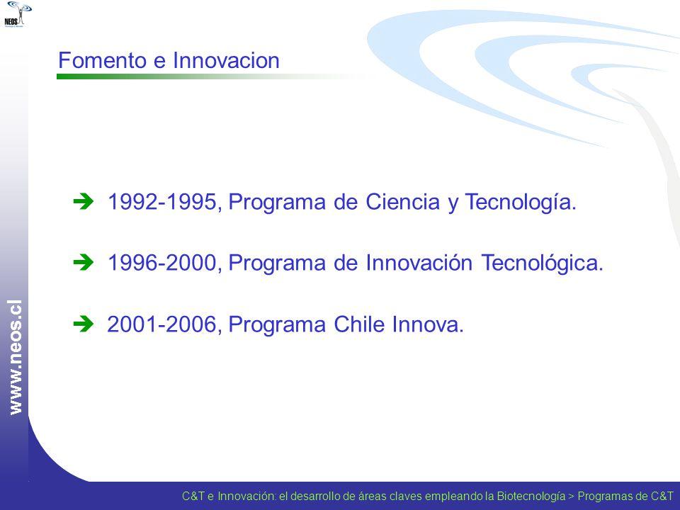 C&T e Innovación: el desarrollo de áreas claves empleando la Biotecnología > Programas de C&T w w w. n e o s. c l Fomento e Innovacion 1992-1995, Prog