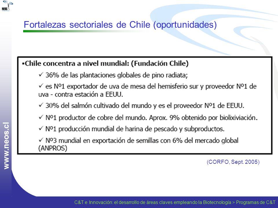 w w w. n e o s. c l Fortalezas sectoriales de Chile (oportunidades) (CORFO, Sept. 2005) C&T e Innovación: el desarrollo de áreas claves empleando la B