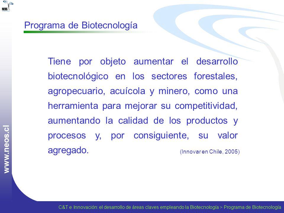 w w w. n e o s. c l Programa de Biotecnología Tiene por objeto aumentar el desarrollo biotecnológico en los sectores forestales, agropecuario, acuícol