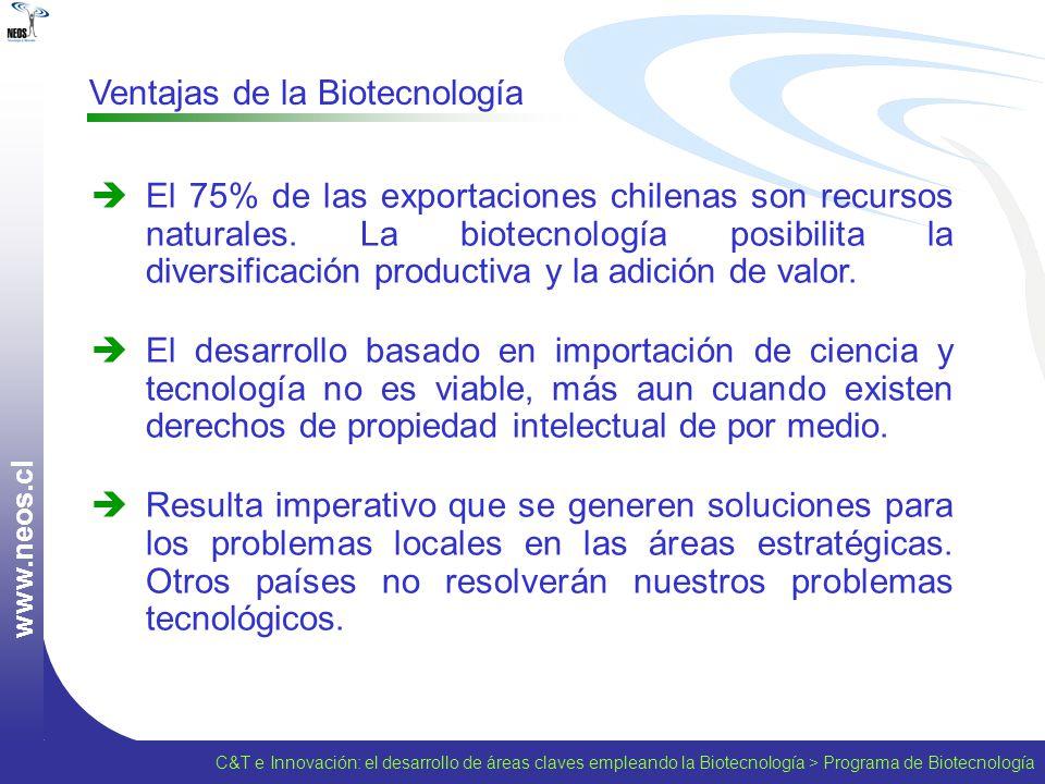 w w w. n e o s. c l Ventajas de la Biotecnología El 75% de las exportaciones chilenas son recursos naturales. La biotecnología posibilita la diversifi