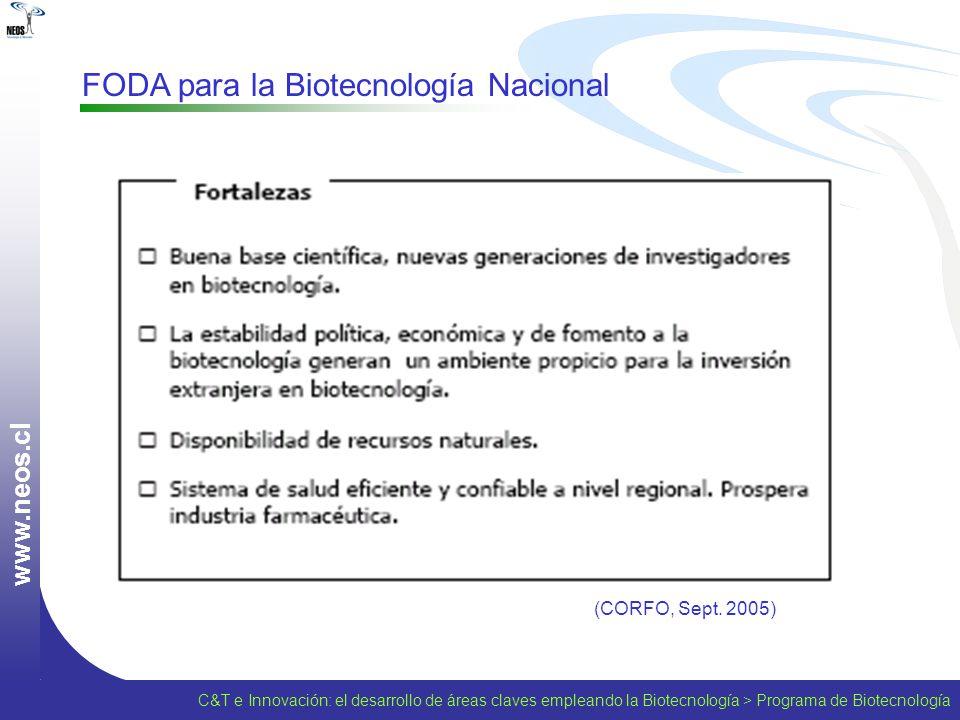 w w w. n e o s. c l FODA para la Biotecnología Nacional (CORFO, Sept. 2005) C&T e Innovación: el desarrollo de áreas claves empleando la Biotecnología
