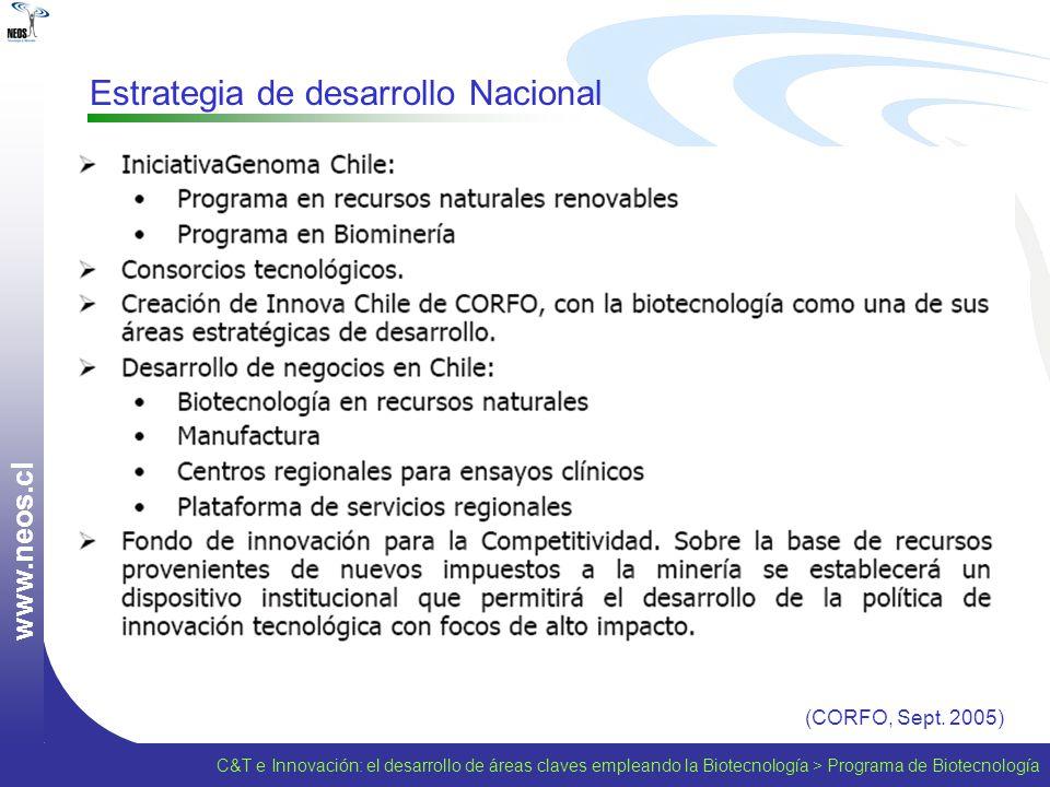 w w w. n e o s. c l Estrategia de desarrollo Nacional (CORFO, Sept. 2005) C&T e Innovación: el desarrollo de áreas claves empleando la Biotecnología >