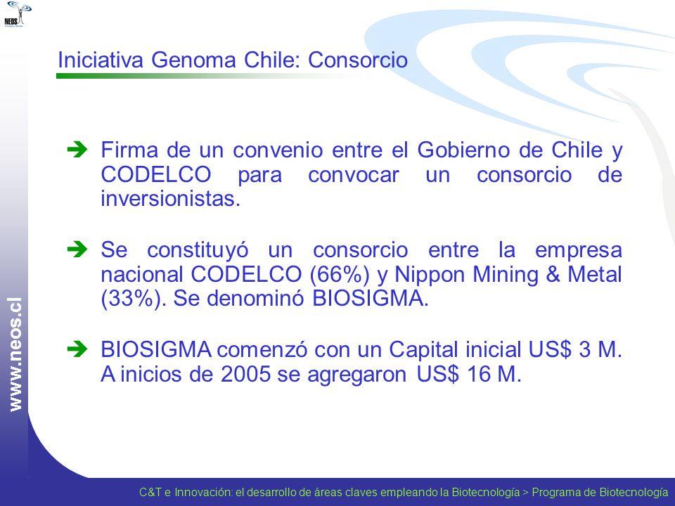 w w w. n e o s. c l Iniciativa Genoma Chile: Consorcio Firma de un convenio entre el Gobierno de Chile y CODELCO para convocar un consorcio de inversi