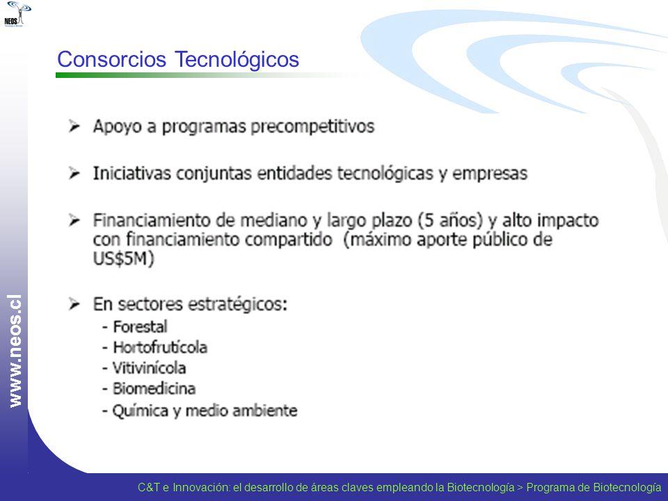 w w w. n e o s. c l Consorcios Tecnológicos C&T e Innovación: el desarrollo de áreas claves empleando la Biotecnología > Programa de Biotecnología